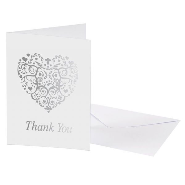 Vintage Romance White & Silver Thank You Cards